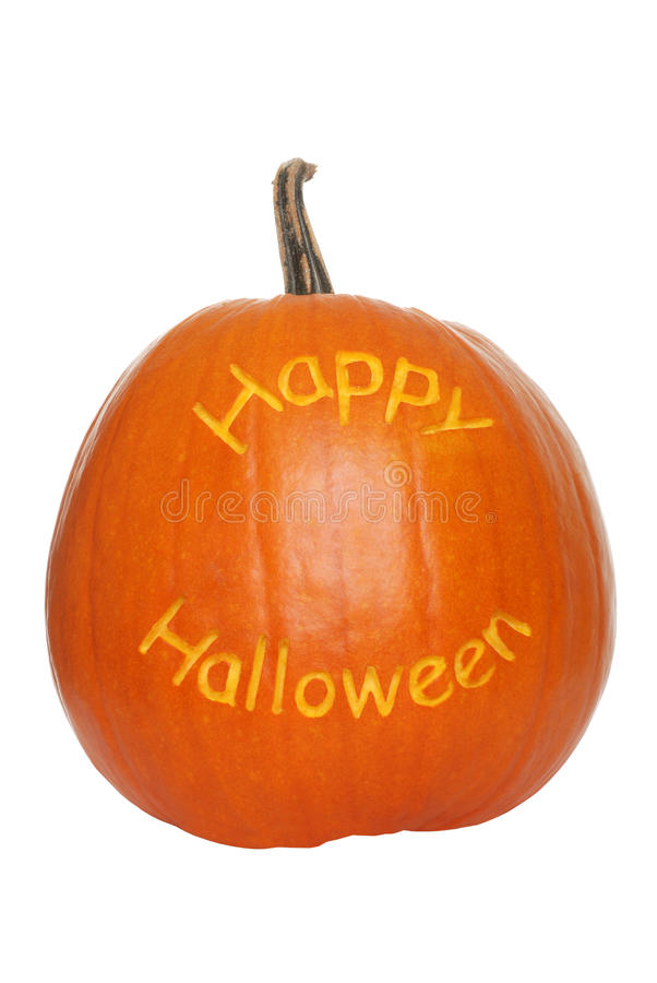 Happy halloween pumpkin. Isolated happy halloween pumpkin on a white background royalty free stock photography