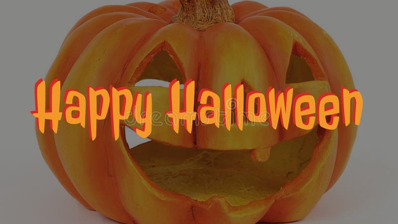Happy Halloween. With a pumpkin in the background stock images
