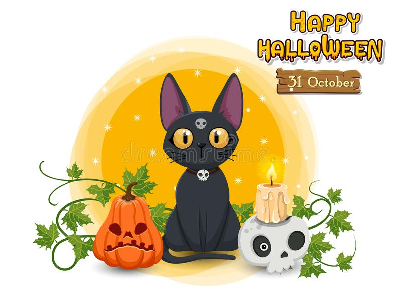 Happy Halloween pumpkin, cat, skull, candle. Concept cartoon Halloween day elements. Vector clipart illustration stock illustration
