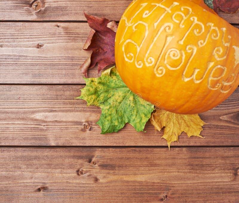 Happy Halloween pumpkin composition stock image