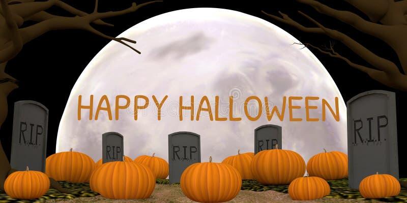 HAPPY HALLOWEEN. A Happy Halloween pumpkin filled moonlit graveyard stock images