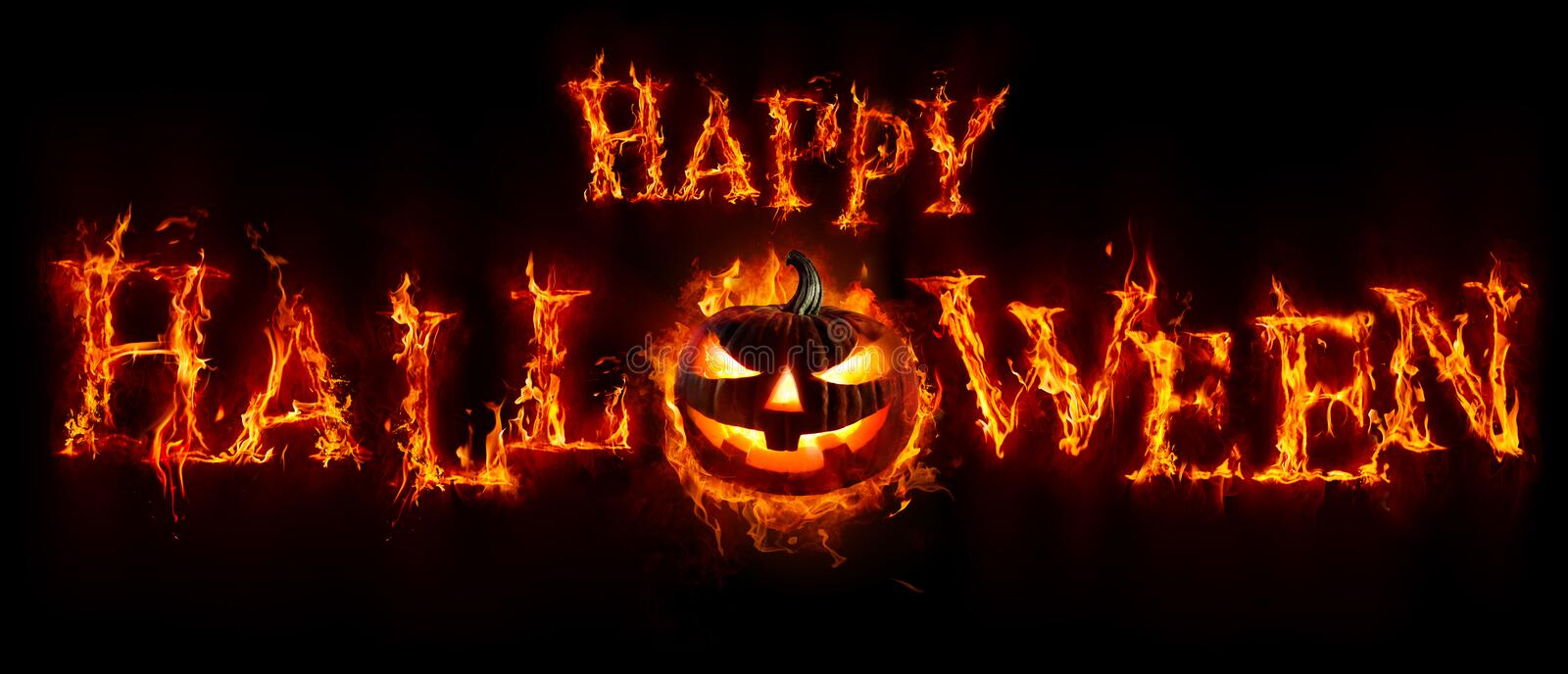 Happy Halloween - Pumpkin In Flamed Text Banner. Pumpkin In Flamed Text Banner, Happy Halloween royalty free stock photography