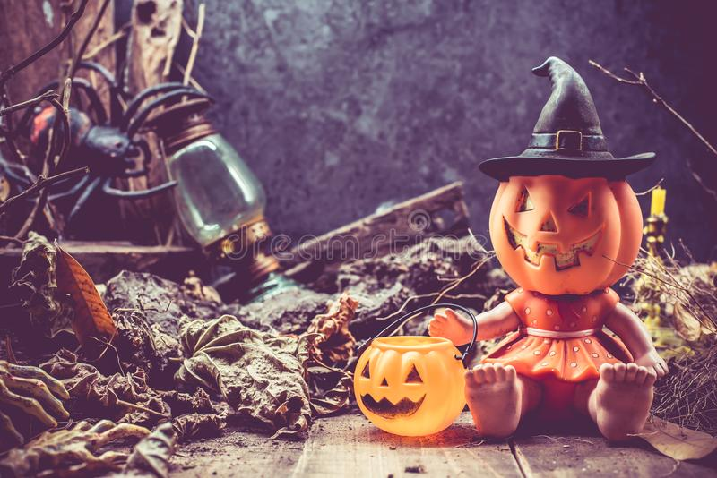 Happy Halloween with pumpkin. Trick or treat in autumn season. Scary and boo symbol at night stock photos