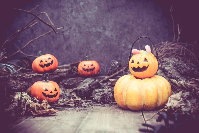 Happy Halloween with pumpkin. Trick or treat in autumn season. Scary and boo symbol at night royalty free stock image
