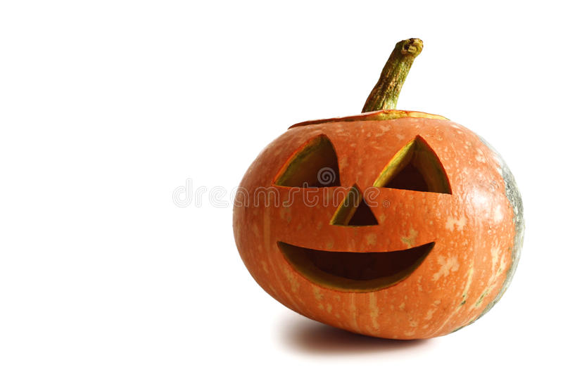 Happy Halloween pumpkin. Isolated on white background stock image