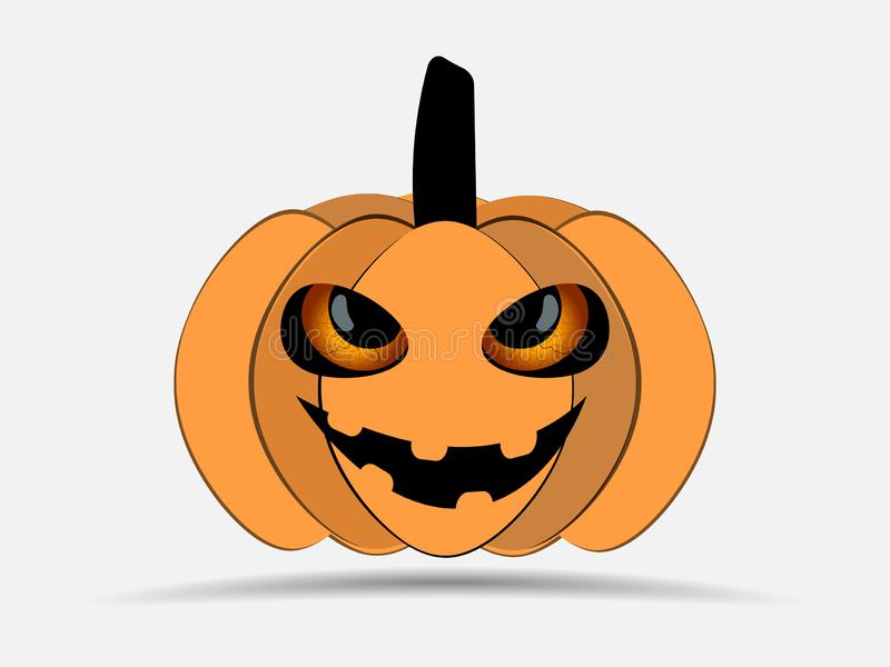 Happy Halloween. Pumpkin isolated on white background. Jack o lantern icon. Vector royalty free illustration