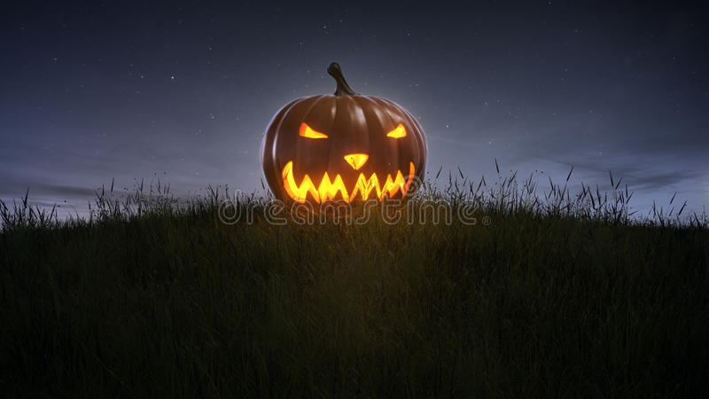 Happy halloween pumpkin on lawn. At night royalty free illustration