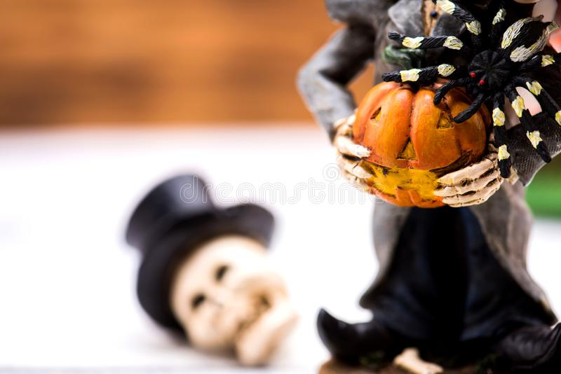 Happy Halloween concept. Happy Halloween with pumpkin for party. trick or treat at in autumn season royalty free stock images
