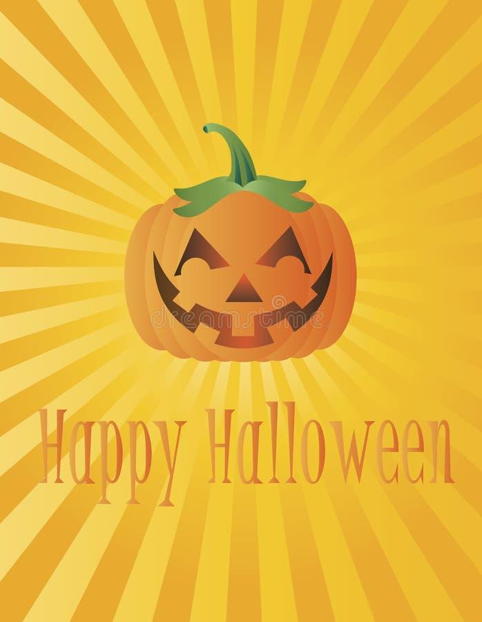 Happy Halloween Pumpkin with Sun Rays Illustration stock illustration
