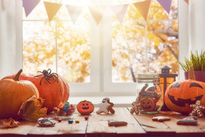 Pumpkin, sweets and cookies stock images