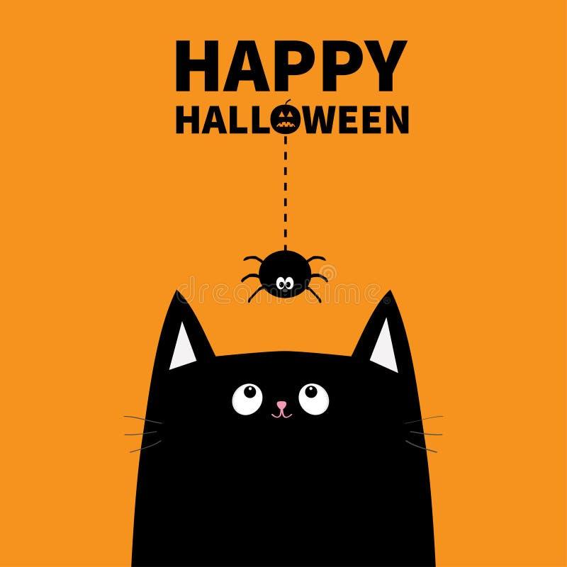 Happy Halloween pumpkin text. Black cat face head silhouette looking up stock illustration