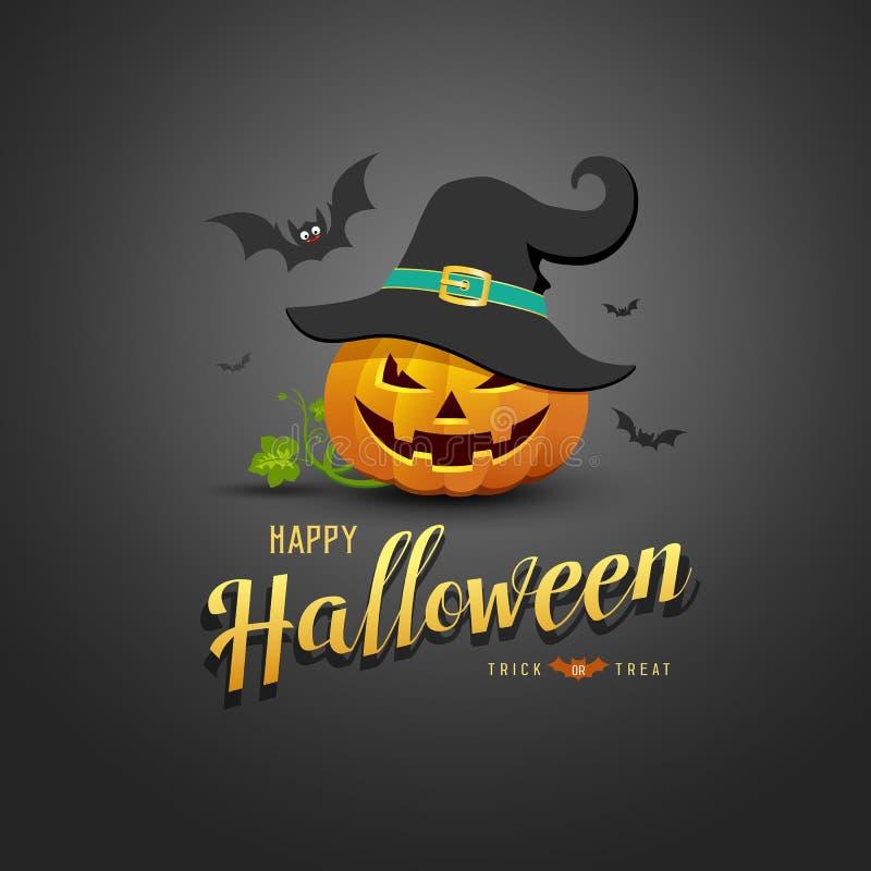 Happy Halloween Pumpkin wear black hats and bat on back background vector illustration