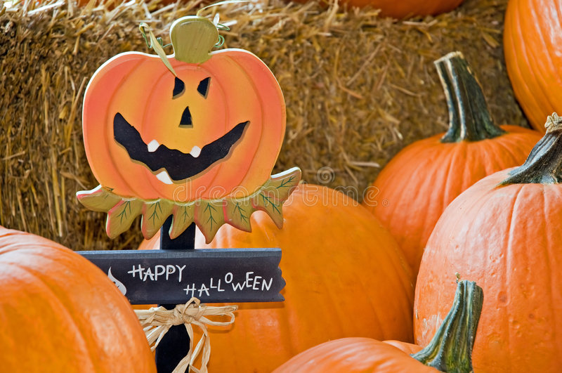 Happy Halloween pumpkins stock photo