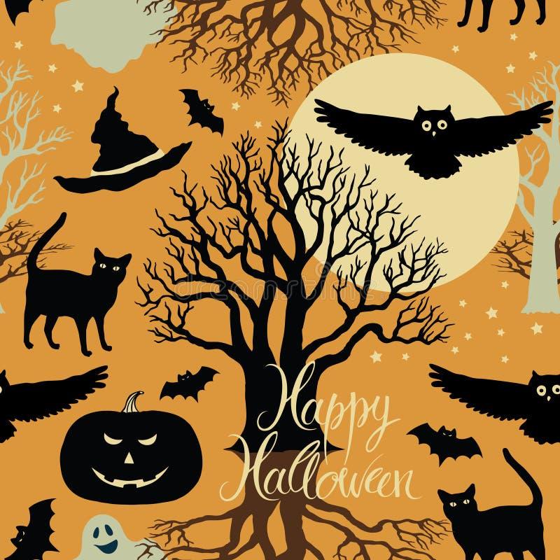 Happy Halloween, pumpkins, bats and cats. Black tr vector illustration