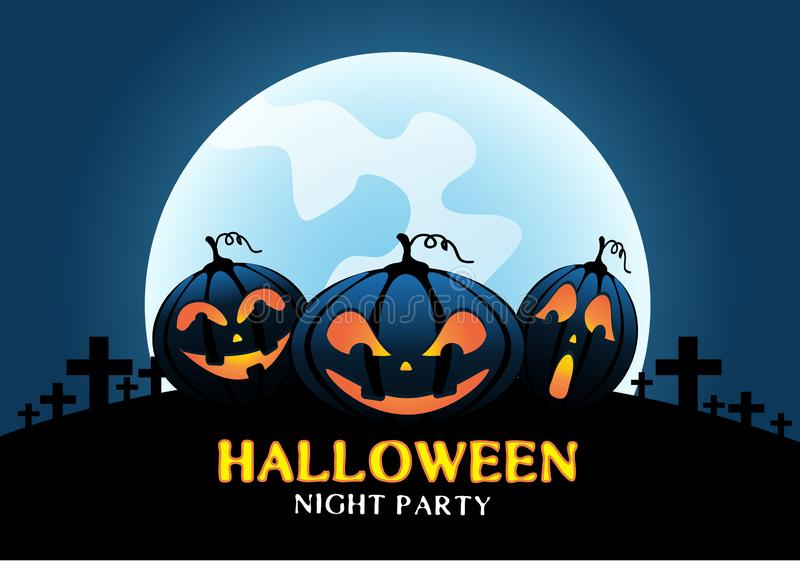 Happy Halloween pumpkins on blue moon light night party celebration festival vector. Illustration vector illustration