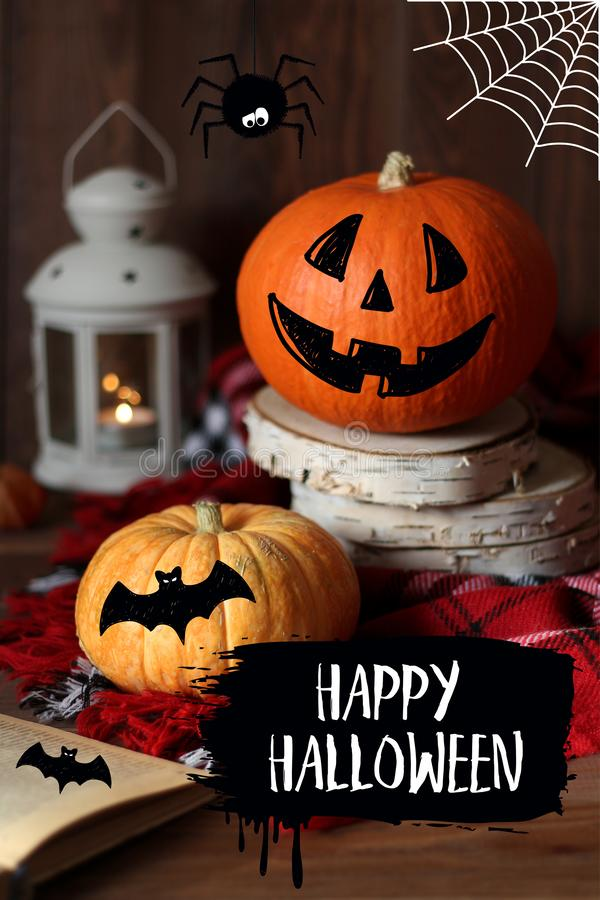 Happy Halloween pumpkins card with hand drawn doodle illustrations.  stock photo