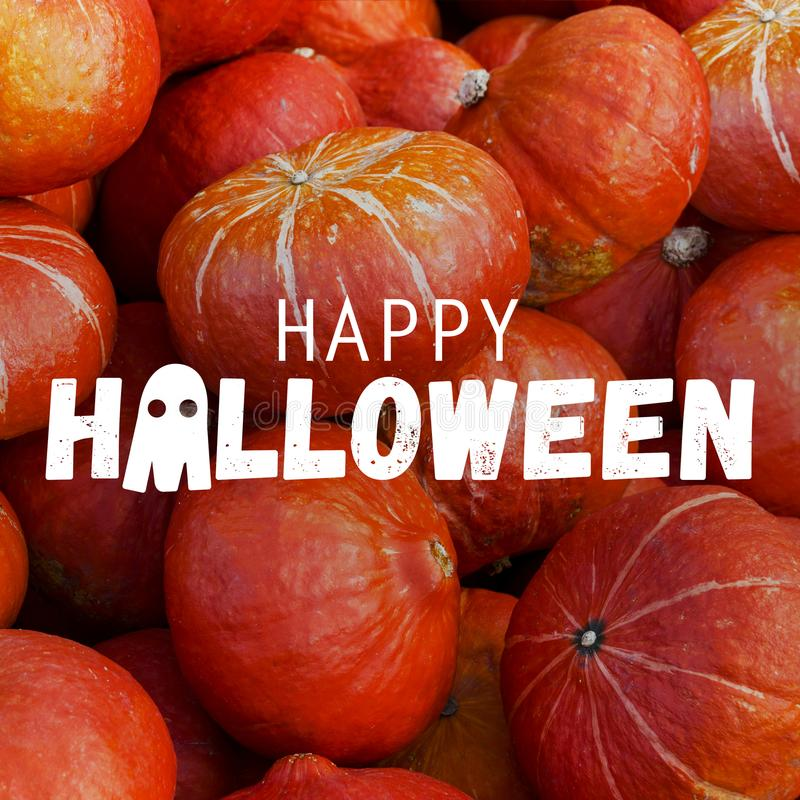 Happy Halloween pumpkins. Happy Halloween set of pumpkins background stock photos