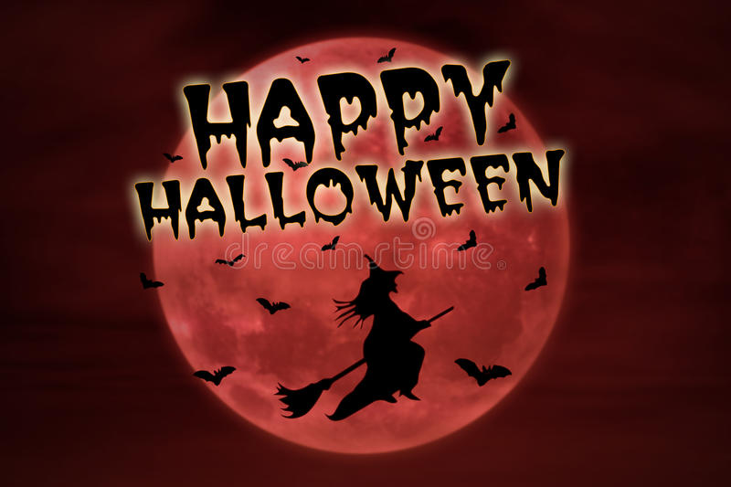 Download Happy Halloween On Red Full Moon And Witch Stock Illustration - Image: 32978399