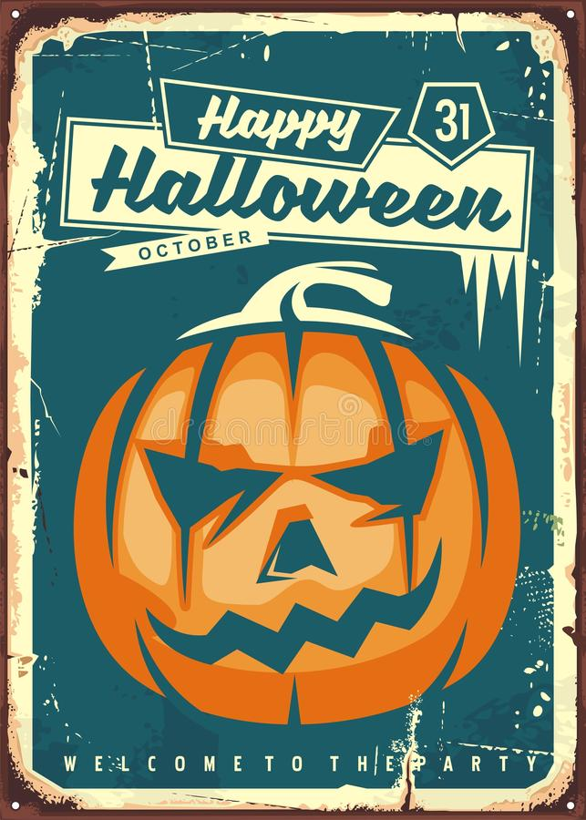 Happy Halloween retro sign. Vintage illustration for Halloween party with pumpkin head and creative typography on dark blue background stock illustration