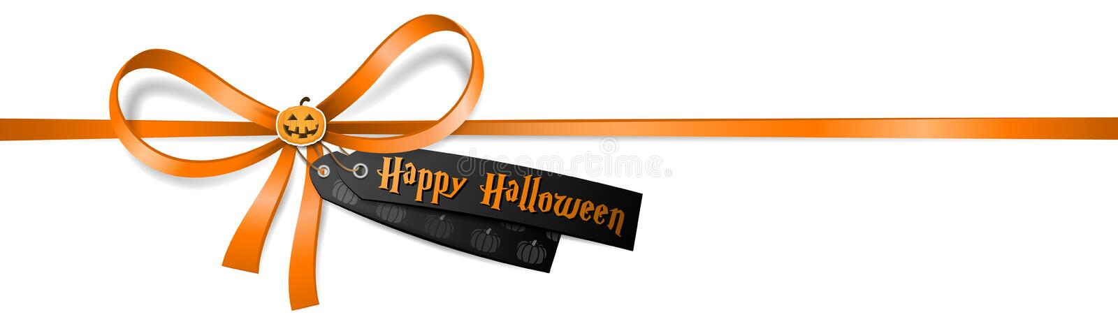 Happy halloween ribbon bow with a pumpkin sticker isolated stock illustration