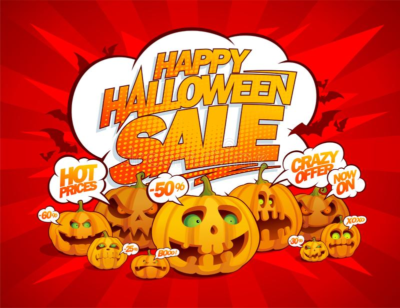 Happy halloween sale banner with talking pumpkins crowd, speech bubbles royalty free illustration