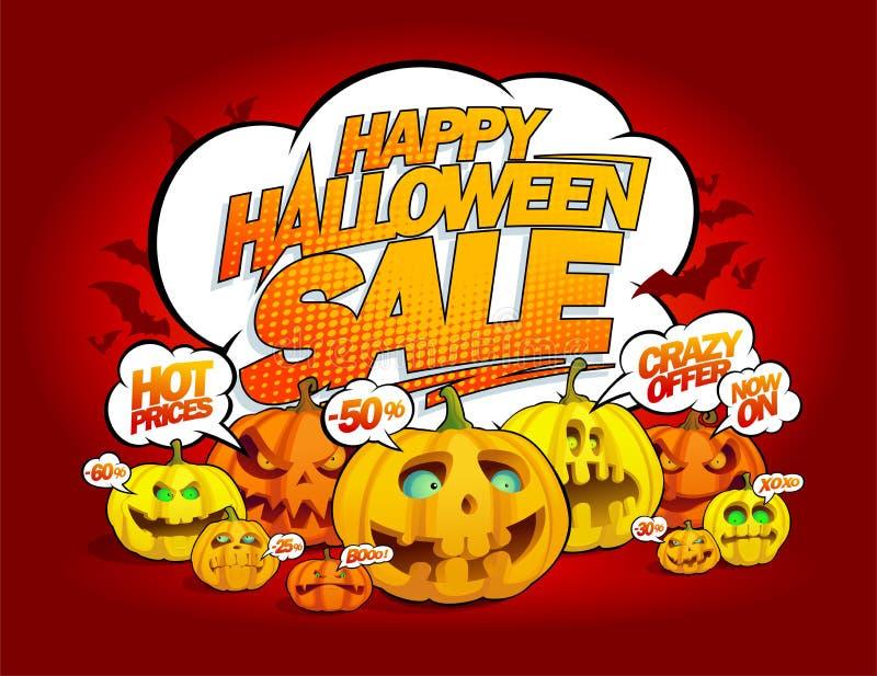 Happy halloween sale banner with talking pumpkins crowd, speech bubbles vector illustration