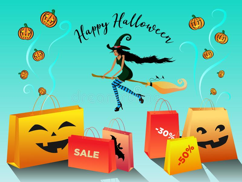 Happy Halloween sale promotion banner with a beautiful blackskin witch flying on a broomstick and bags. stock illustration