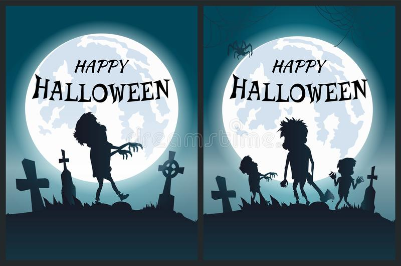 Happy Halloween Scary Posters Vector Illustration royalty free illustration