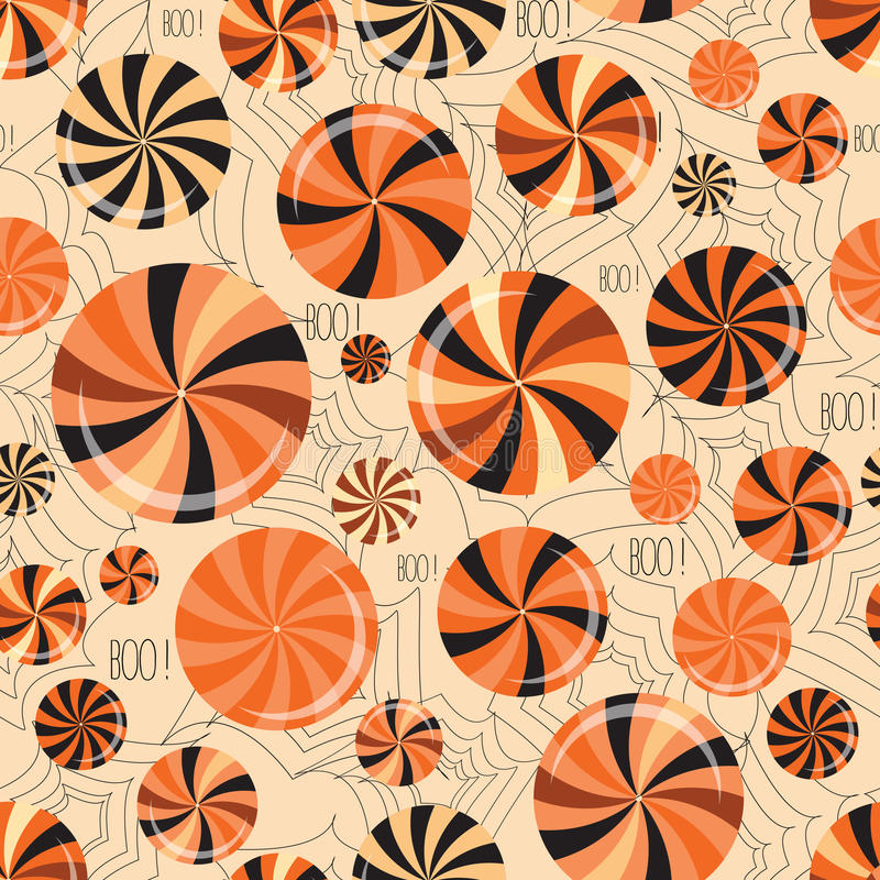 Happy Halloween seamless background with sweets, candies and spider web. Vector pattern royalty free illustration