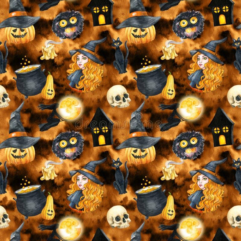 Happy Halloween Seamless Pattern Background. Funny Pumpkin