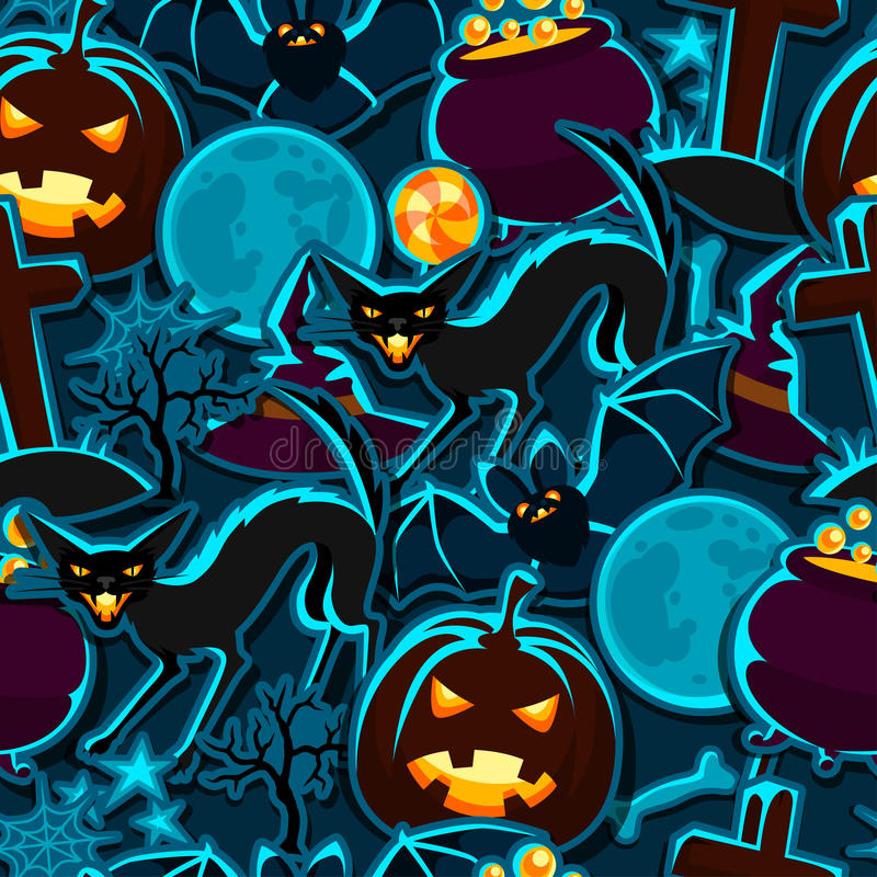 Free Happy Halloween Seamless Pattern With Stickers Stock Images - 56805144