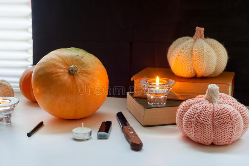 Happy halloween!Set for carving pumpkin on the table in the home, preparation for a party. royalty free stock photo