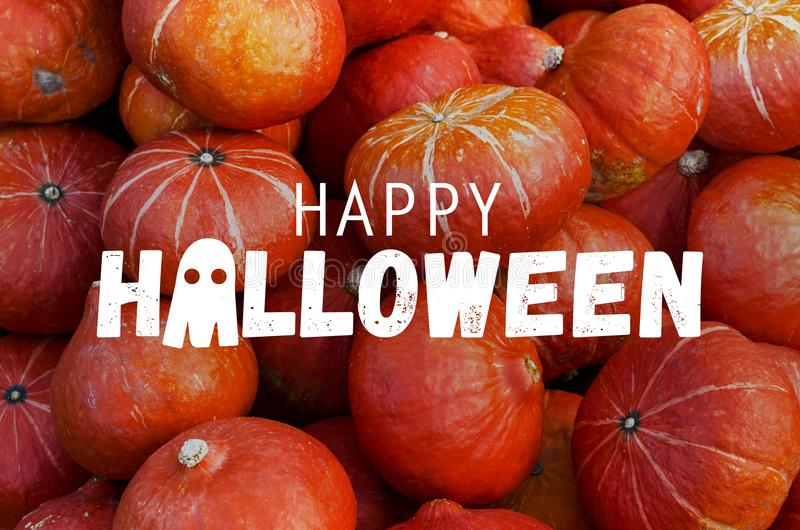 Happy Halloween pumpkins. Happy Halloween set of pumpkins background royalty free stock photography
