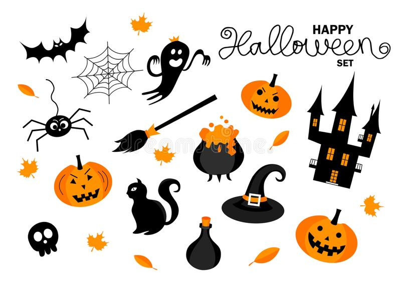 Halloween. Hand drawn lettering and illustration. Happy Halloween set. Set of Halloween elements. Hand drawn lettering and illustrations. Vector illustration vector illustration