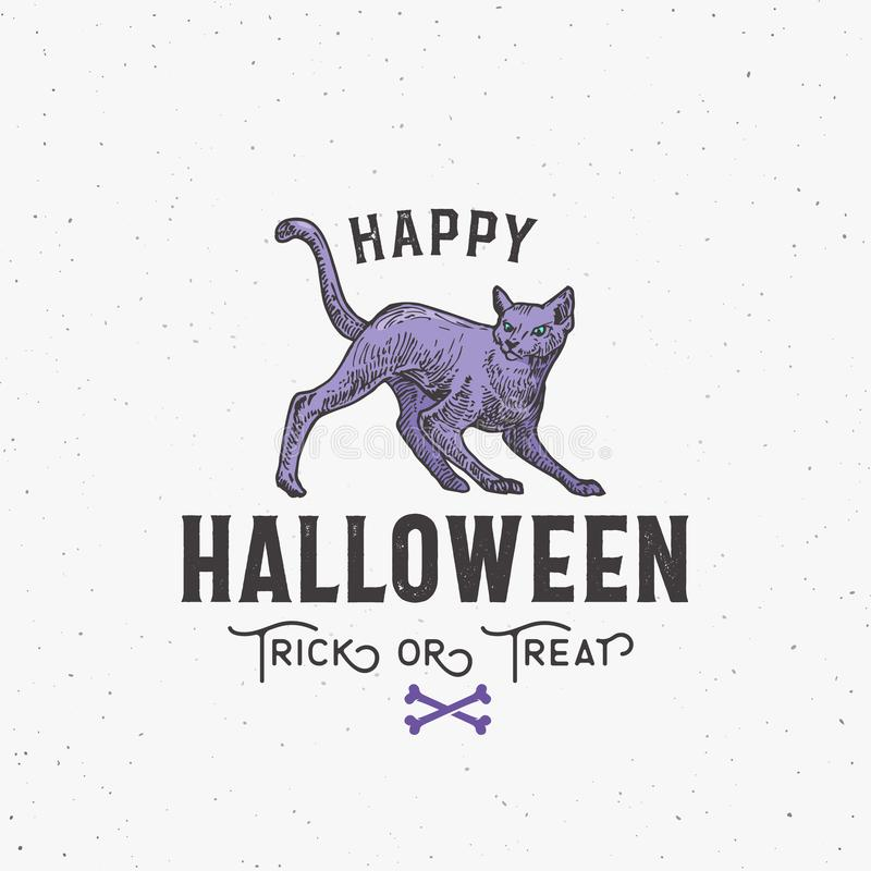 Happy Halloween Sign, Logo or Label Template. Hand Drawn Colorful Cat Sketch Symbol with Retro Typography. Shabby stock illustration
