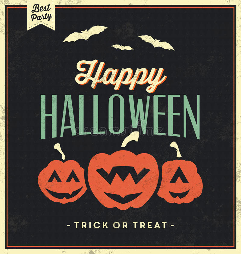 Happy Halloween Sign With Pumpkins - Vintage Template royalty free illustration