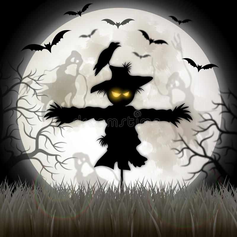 Happy Halloween sign with scarecrow vector illustration