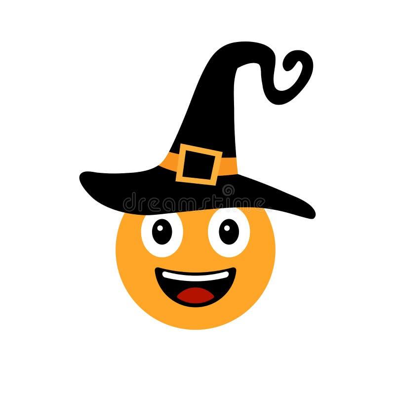 Happy Halloween Smiley in witch hat. Emotional icon. Happy emoji, emoticon. Smiling face symbol. Vector illustration royalty free illustration
