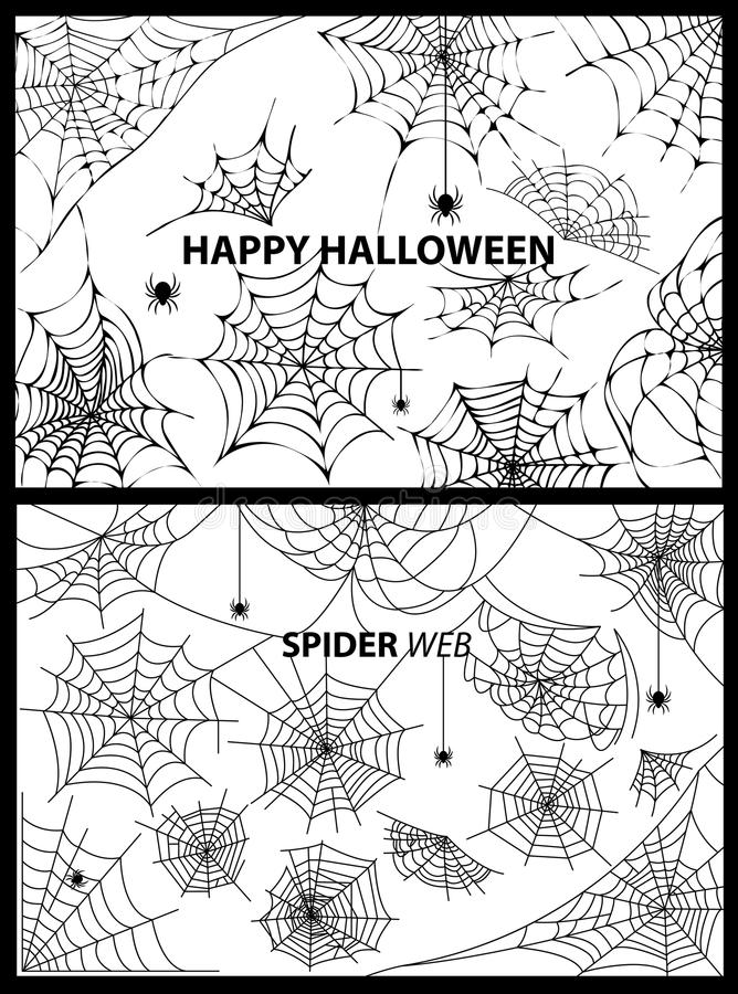 Happy Halloween Spider Web Vector Illustration stock illustration