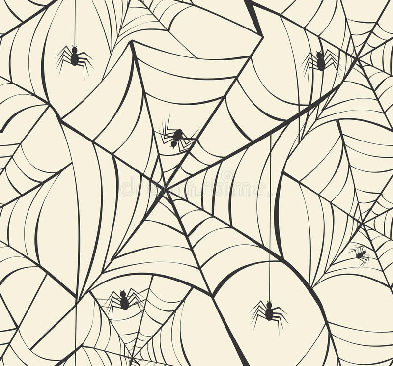 Happy Halloween spider webs seamless pattern background EPS10 file. royalty free stock photography