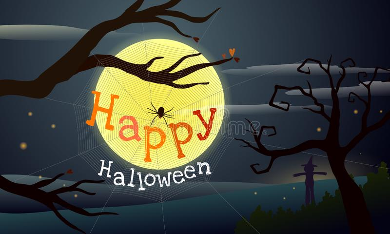 Happy Halloween, spooky spider spinning web under dead tree in the moonlight with silhouette of scary tree and scarecrow in the royalty free illustration