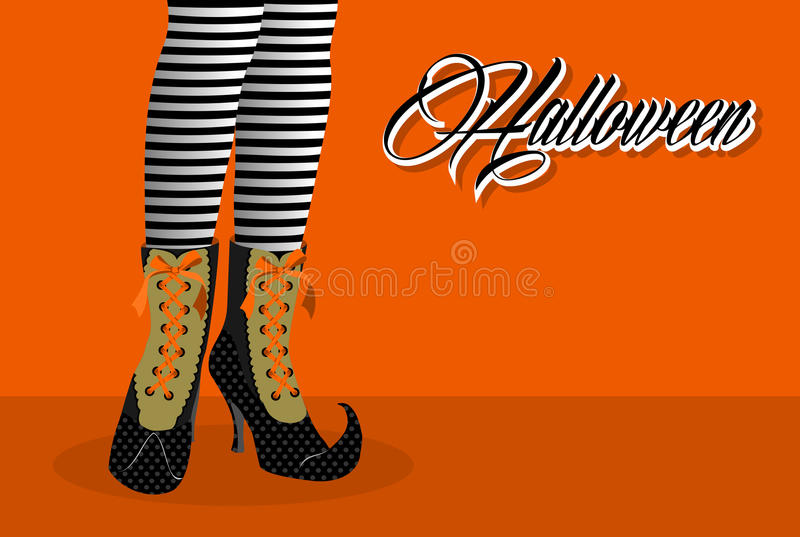 Happy Halloween spooky witch legs illustration EPS10 file. stock photo