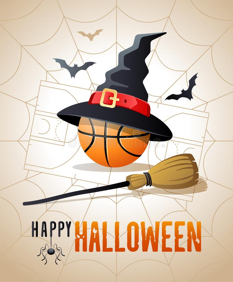Happy Halloween. Sports greeting card. Basketball ball with witches hat and broom. vector illustration