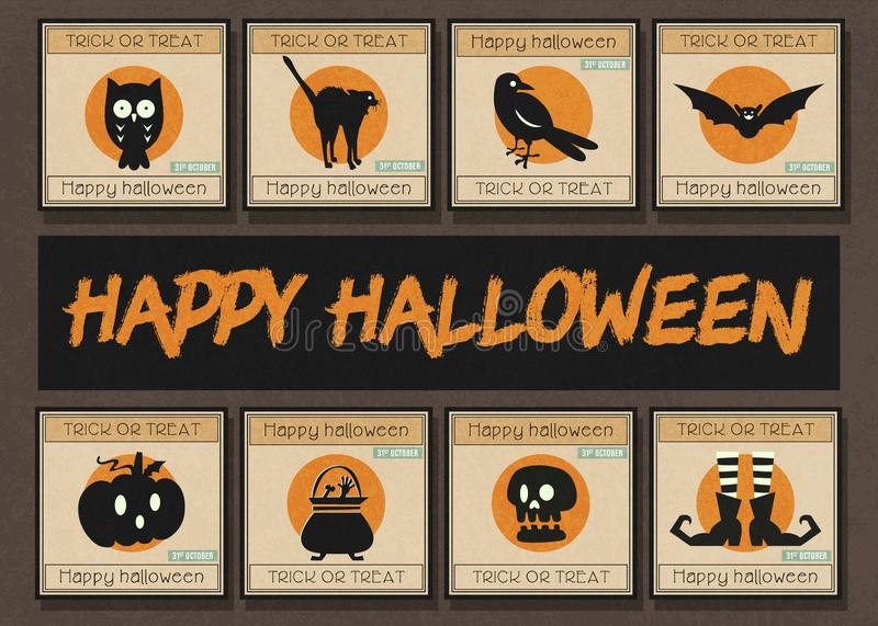 Happy halloween square banner template set stock images