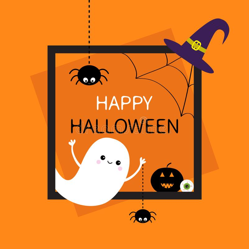 Happy Halloween. Square frame. Flying ghost, monster head silhouette. Black spider dash line. Pumpkin, eyeball, witch hat. Cute ca vector illustration