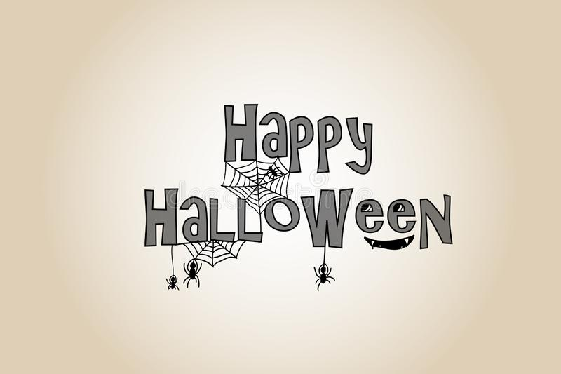 Happy Halloween stylized hand drawn sign with net and spiders stock illustration