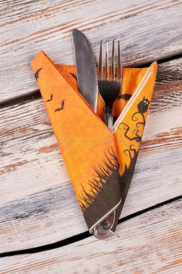 Happy Halloween table place setting. Halloween cutlery setting. Halloween holiday concept stock photography