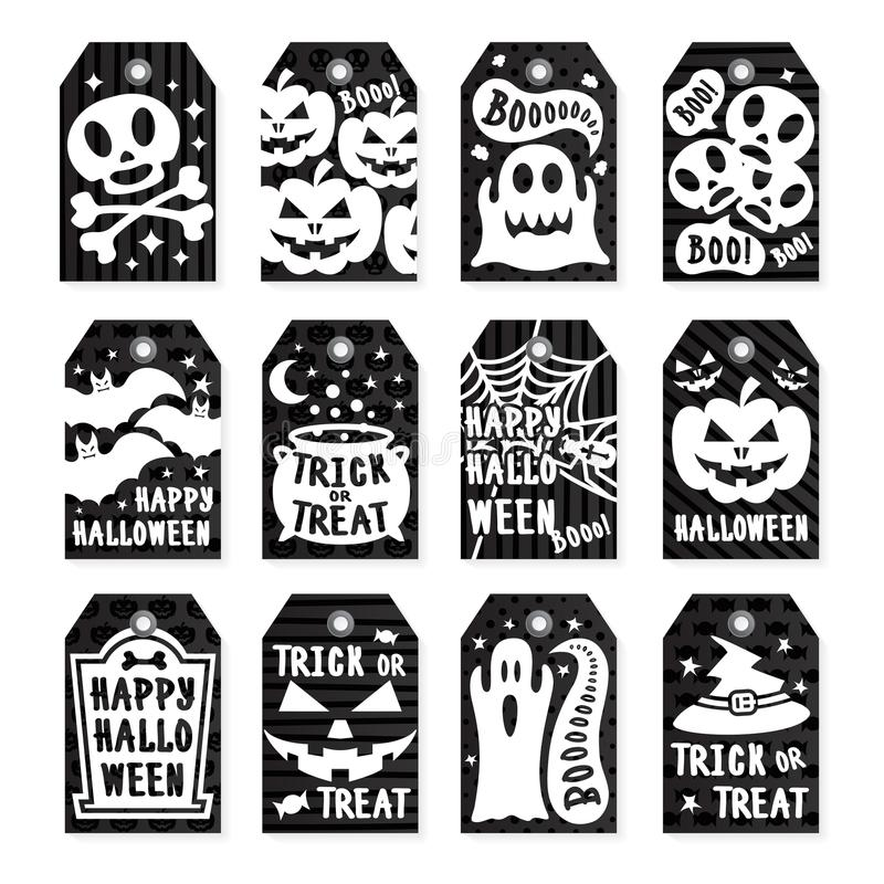 Happy halloween tags set white color on black background with skull, pumpkin, spider, bat royalty free illustration