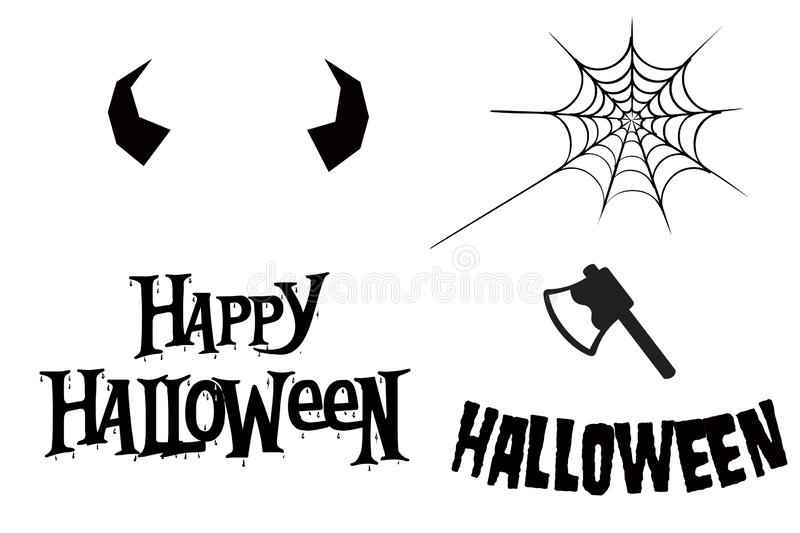 Happy Halloween text banner on white background royalty free illustration