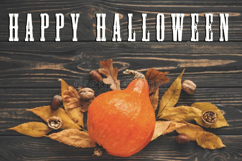 Happy Halloween Text on Beautiful Pumpkin with bright autumn lea. Ves, acorns, nuts on wooden rustic table, flat lay. Atmospheric image. Seasons greeting card royalty free stock photography